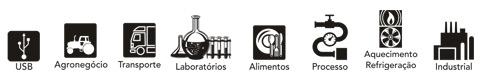 Selos: USB, agronegócios, transporte, laboratórios, alimentos, processo, aquecimento refrigeração e industrial.