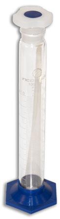Proveta de 100ml com base e rolha de polipropileno