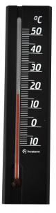 Termômetro Ambiente Com Base Em Madeira Preto Incoterm