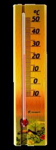 Termômetro Ambiente Com Base Em Madeira PAISAGEM Incoterm