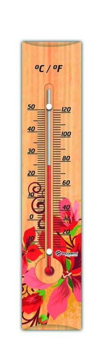 Termômetro Ambiente com Base em Madeira FLORES VERMELHAS  Incoterm