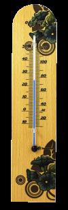 Termômetro Ambiente com Base em Madeira FLORES AZUIS  Incoterm