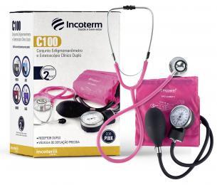Conjunto de Estetoscópio Clínico Duplo e Esfigmomanômetro Aneróide  C100  Pink Incoterm