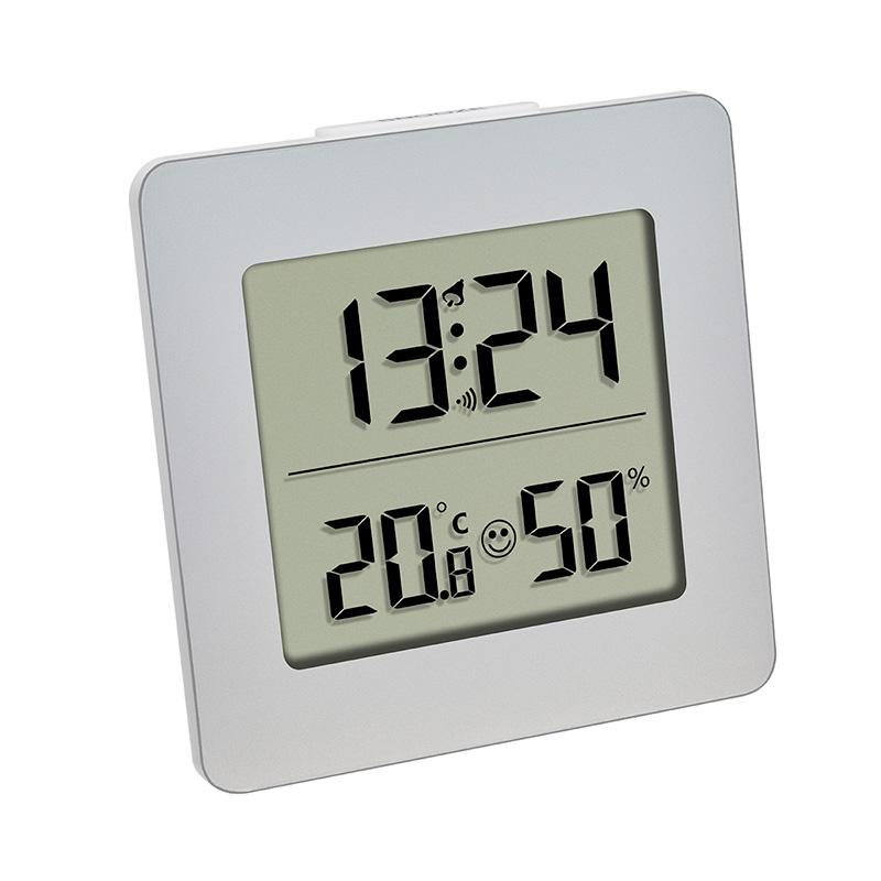Termo-Higrômetro com Relógio Prata Incoterm