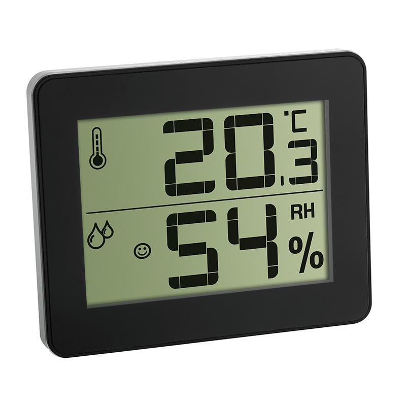 Termo-Higrômetro com Relógio Preto Incoterm
